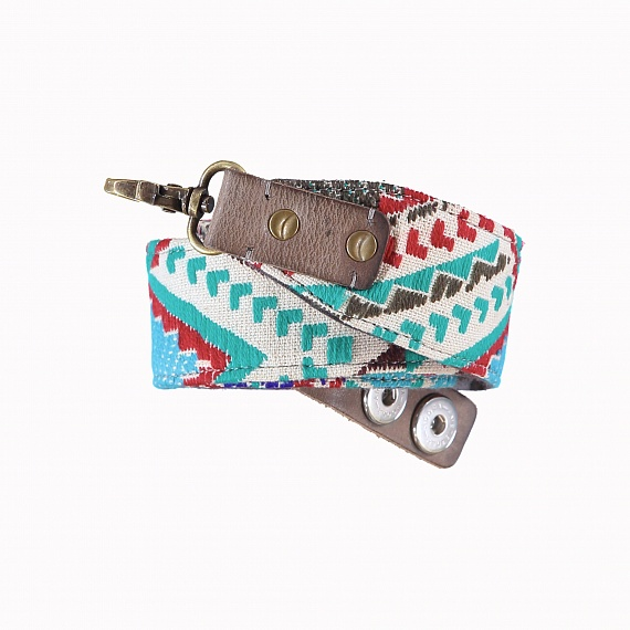 Bag Strap wool turquoise/red 130 cm