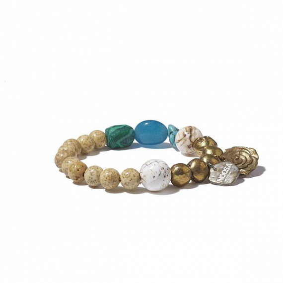 Lotus Seed Bracelet with turquoise and malachite